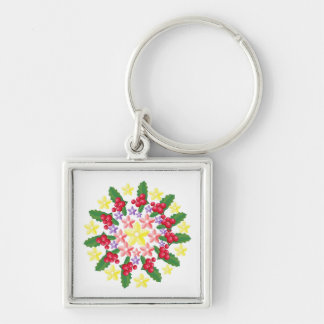 Cute Red Berry Garland Pattern Silver-Colored Square Keychain