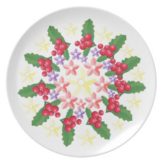 Cute Red Berry Garland Pattern Plates