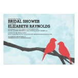 Cute Red Bird Bridal Shower Invitations Card