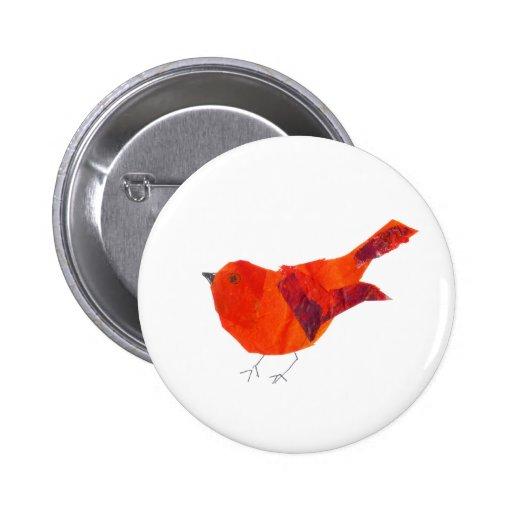 Cute Red Bird Pinback Buttons