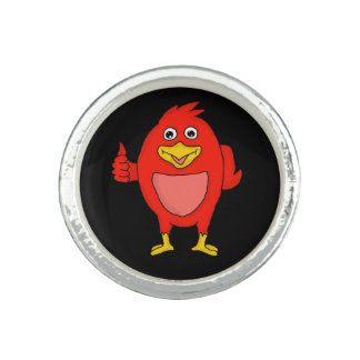 Cute red bird design custom rings
