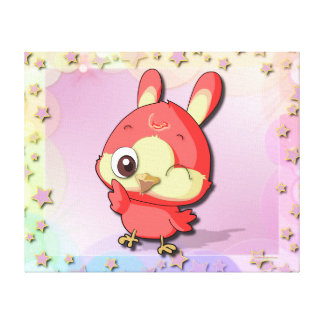 Cute Red Bird Funny Cartoon Character Canvas Stretched Canvas Print