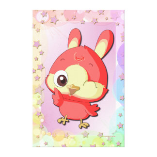 Cute Red Bird Funny Cartoon Character Canvas