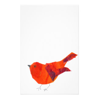 Cute Red Bird Stationery Design