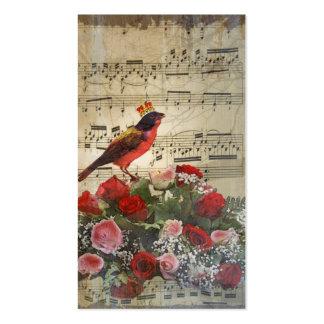 Cute red bird & vintage music sheet business card