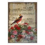 Cute red bird & vintage music sheet card