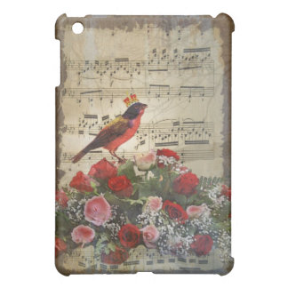 Cute red bird & vintage music sheet cover for the iPad mini