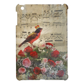 Cute red bird & vintage music sheet iPad mini cover