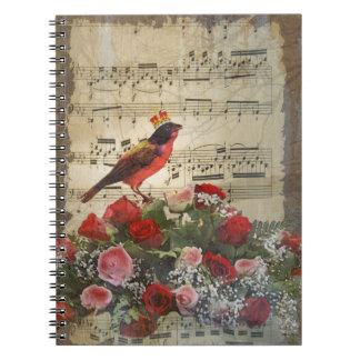 Cute red bird & vintage music sheet spiral notebook