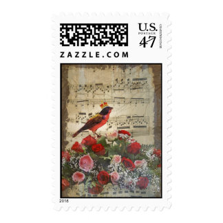 Cute red bird & vintage music sheet postage