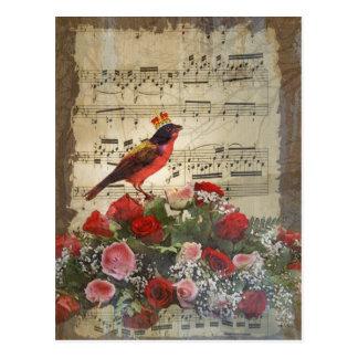 Cute red bird & vintage music sheet postcard