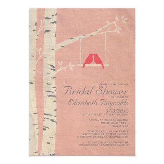 Cute Red Birds Bridal Shower Invitations