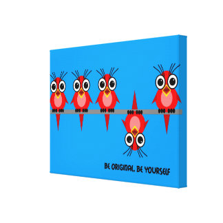cute red birds stretched canvas print