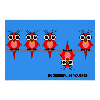 cute red birds poster