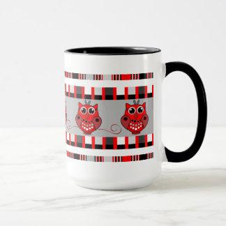 Cute red/black/grey Mug Owls and geometric shapes
