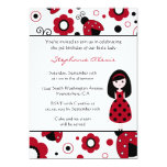 "Cute red black lady bugs birthday party invitation 5"" x 7"" invitation card"