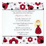 "Cute red black lady bugs birthday party invitation 5.25"" square invitation card"
