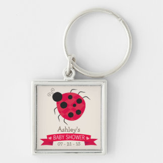 Cute Red & Black Ladybug Baby Shower Silver-Colored Square Keychain