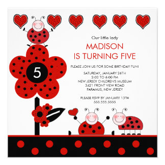 Cute Red Black Ladybug Birthday Invitation