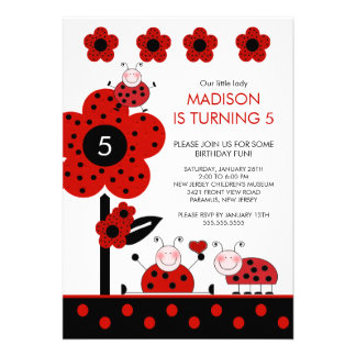 Cute Red & Black Ladybugs Birthday Invitation