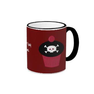 Cute Red & Black Skulls & Cupcakes Personalized Ringer Mug