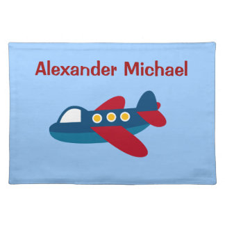 Cute Red/Blue Airplane Personalized Place Mat
