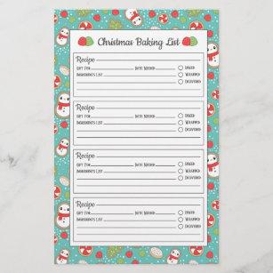 Cute Red Blue Christmas Pattern Baking List