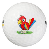 cute red blue parrot golf ball
