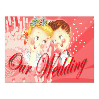 Cute Red Bride & Groom Wedding Invitation