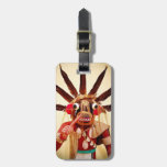 Cute red brown silly funny face photo luggage tag