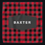 """Cute Red Buffalo Plaid Personalized Dog Bandana<br><div class=""""desc"""">This cute pet bandana features a red and black buffalo plaid pattern with a black badge where you can personalize with the name of your dog,  cat,  or other special pet. So cute and cozy for your pet.</div>"""
