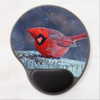 CUTE RED CARDINAL PUFFY BIRD WINTER GEL MOUSEPAD