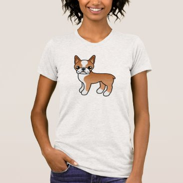 destei Cute Red Cartoon Boston Terrier Dog T-Shirt