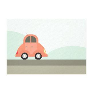 Cute Red Cartoon Car Driving Canvas Print