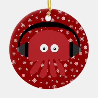 Cute Red Cartoon DJ Jellyfish & Snowflakes Ceramic Ornament