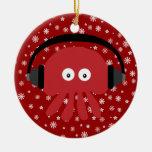 Cute Red Cartoon DJ Jellyfish & Snowflakes Christmas Tree Ornament