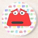 Cute Red Cartoon Monster Beverage Coaster