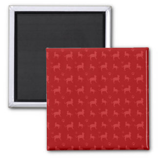 Cute red cats and paws pattern 2 inch square magnet