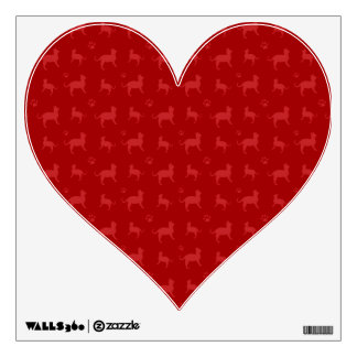 Cute red cats and paws pattern wall stickers