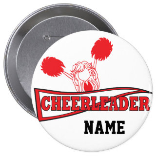 Cute Red Cheerleader Girl | DIY Name Button