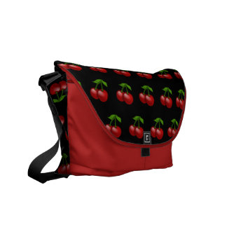Cute Red Cherries on Solid Black Cherry Pattern Messenger Bag