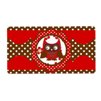 Cute Red & Chocolate Owl Water Bottle Labels