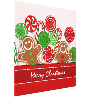 Cute red Christmas gingerbreads Canvas Print