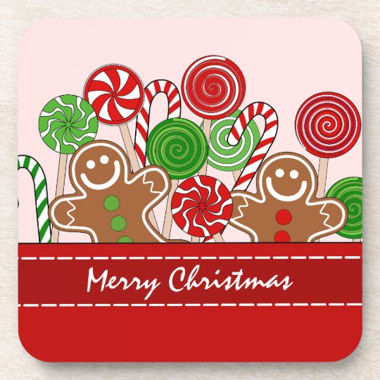 Cute red Christmas gingerbreads Coaster