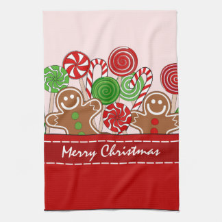 Cute red Christmas gingerbreads Hand Towel