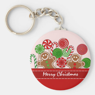Cute red Christmas gingerbreads Keychain