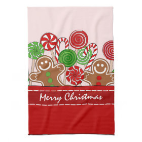 Cute red Christmas gingerbreads Kitchen Towels