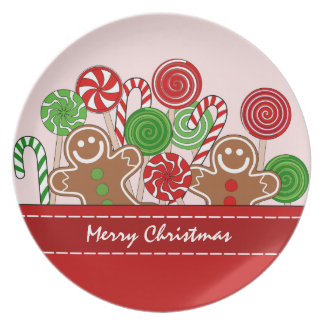 Cute red Christmas gingerbreads Plate