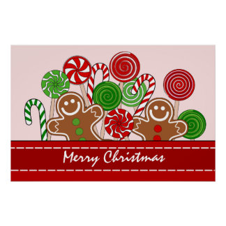 Cute red Christmas gingerbreads Poster