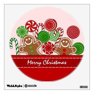 Cute red Christmas gingerbreads Wall Sticker